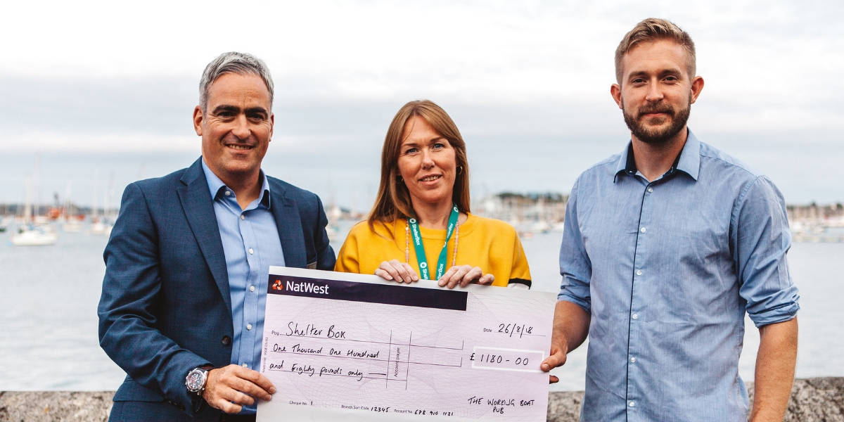 the working boat pub falmouth raises two boxes for shelterbox