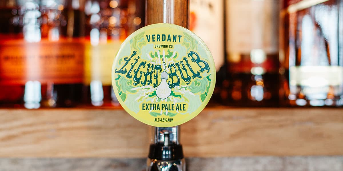 Verdant Light Bulb Beer Pump at The Working Boat Pub in Falmouth Best Craft Beers